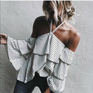 Striped halter top with bell sleeves